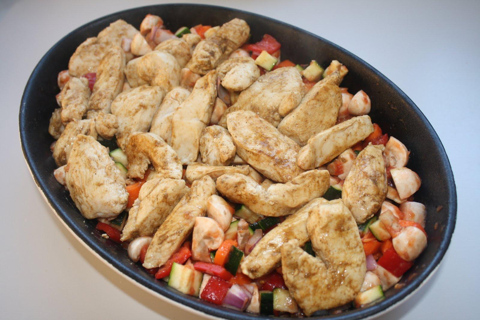 kylling pasta grøntsager