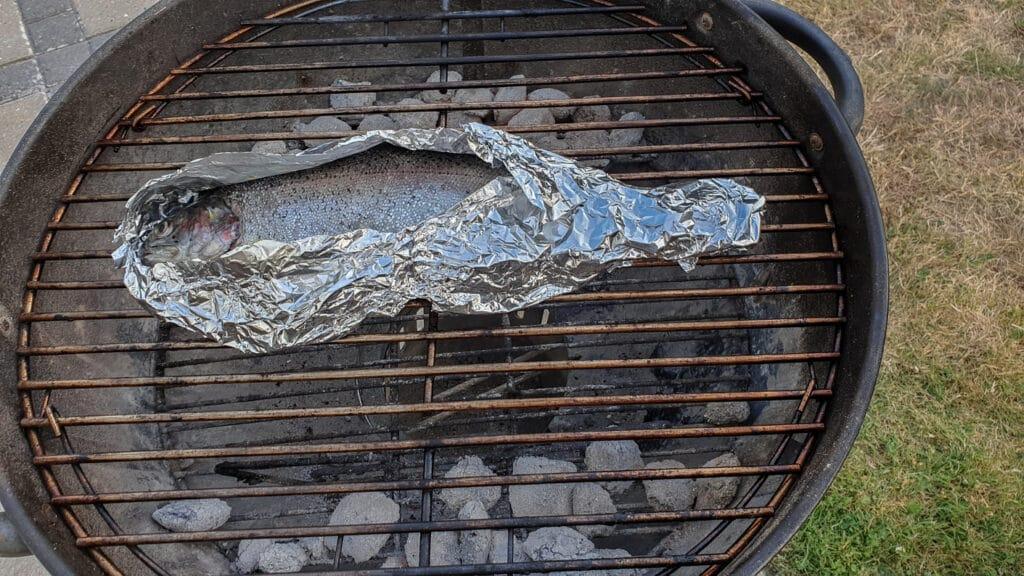 Hel ørred på grill