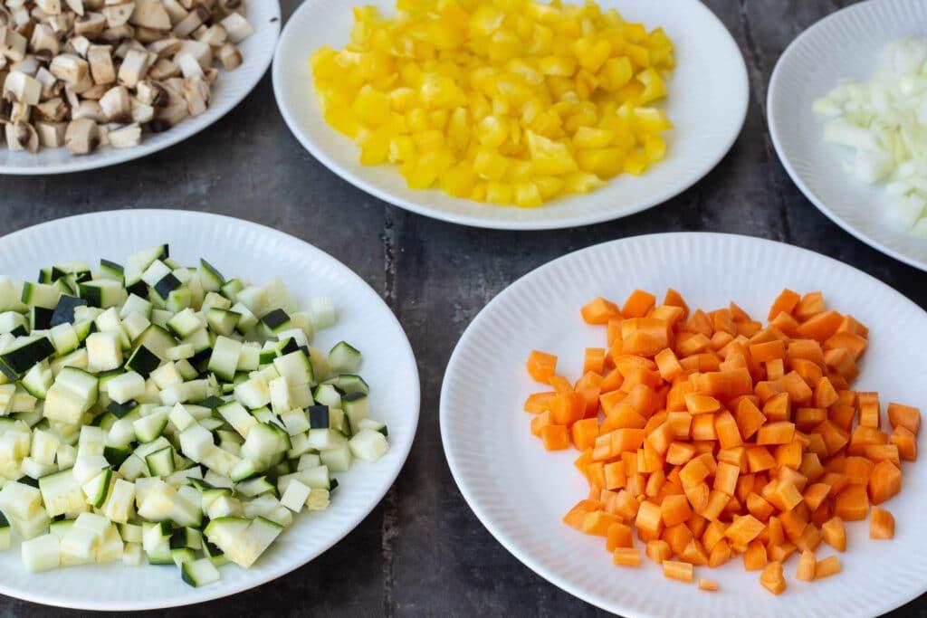 Grøntsager skåret ud
