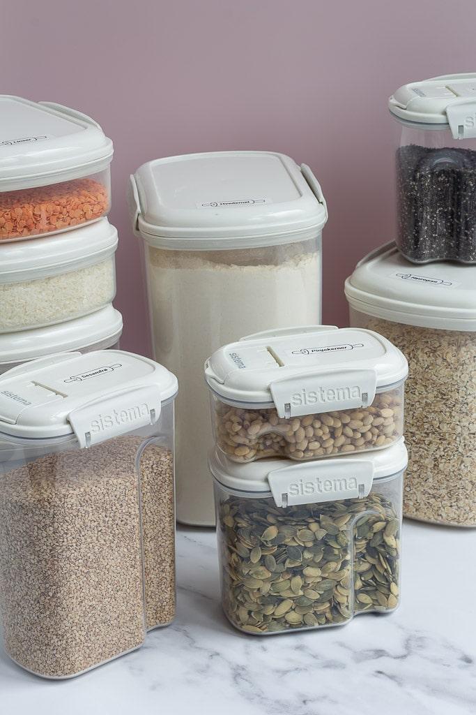 Opbevaring af mel gryn og kerner opbevaringsboetter sistema bake it - dyr i mel